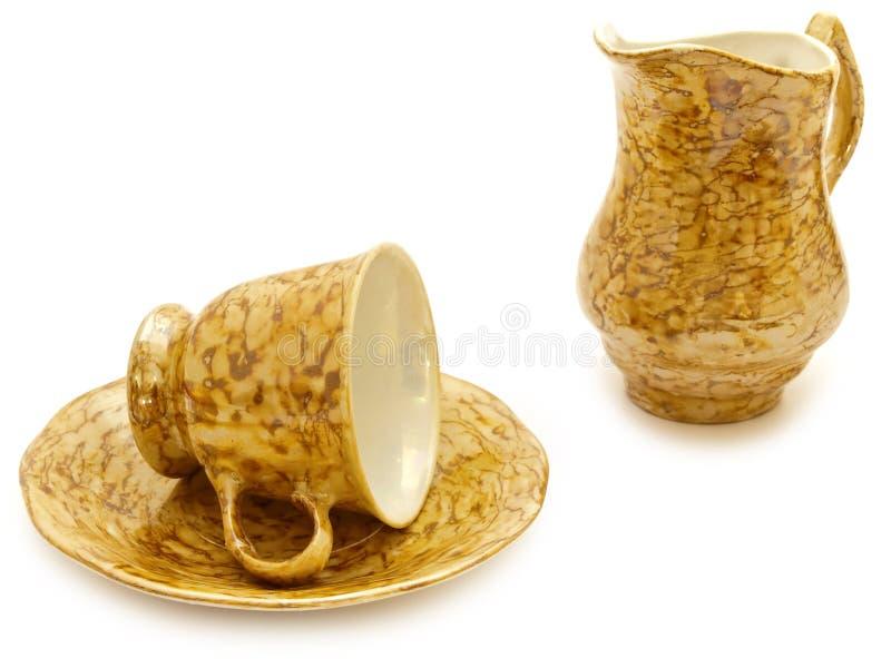 кувшин чашки сливк кофе стоковые изображения
