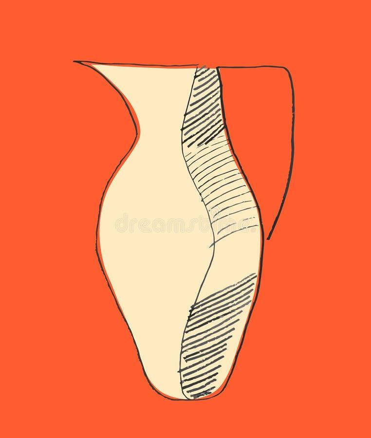 Кувшин Vectorized нарисованная вручную иллюстрация grunge стиля иллюстрация вектора