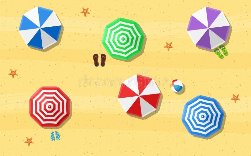 Кувырки зонтиков пляжа иллюстрация вектора