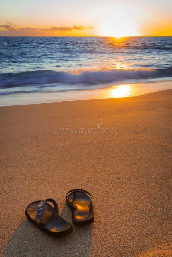 Кувырки (тапочки) на тропическом пляже на заходе солнца стоковое фото rf