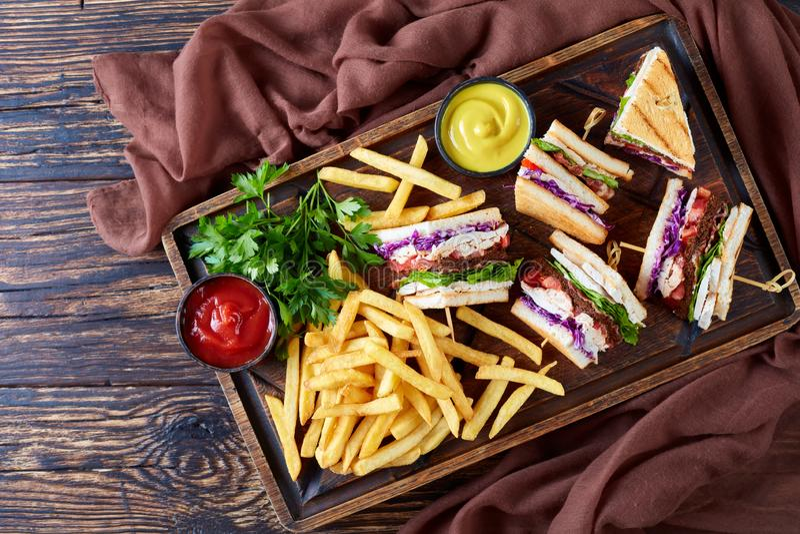 Кудрявые сандвичи и фраи на сервировке всходят на борт стоковое фото