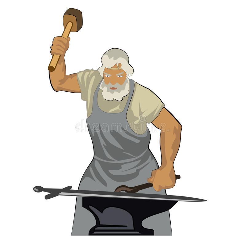 Кузнец кует шпагу бесплатная иллюстрация