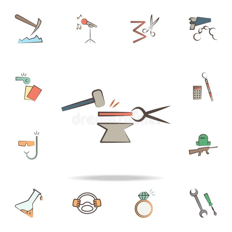 кузнец оборудует значок Детальный набор инструментов различных значков профессии Наградной графический дизайн Один из значков соб иллюстрация штока