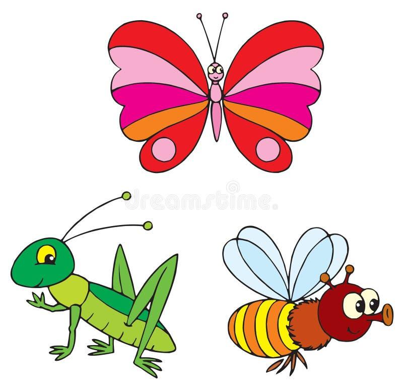 кузнечик бабочки пчелы иллюстрация вектора