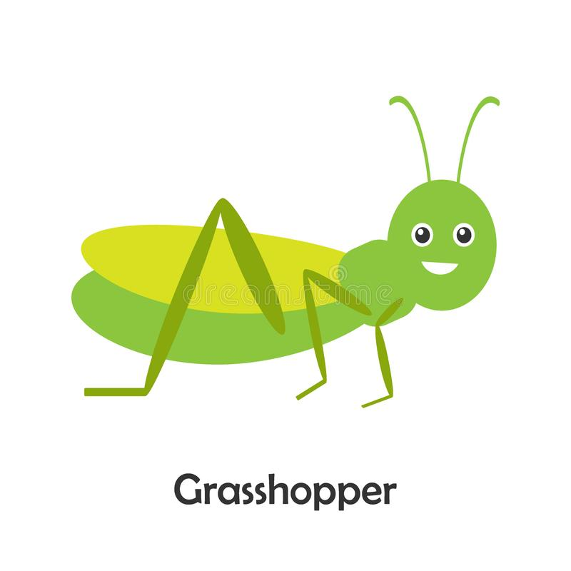 Кузнечик в стиле мультфильма, карта насекомого для ребенк, preschool деятельности для детей, иллюстрации вектора иллюстрация вектора