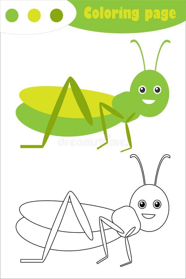 Кузнечик в стиле мультфильма, крася страница, игра бумаги образования весны для развития детей, деятельности при детей preschool иллюстрация вектора