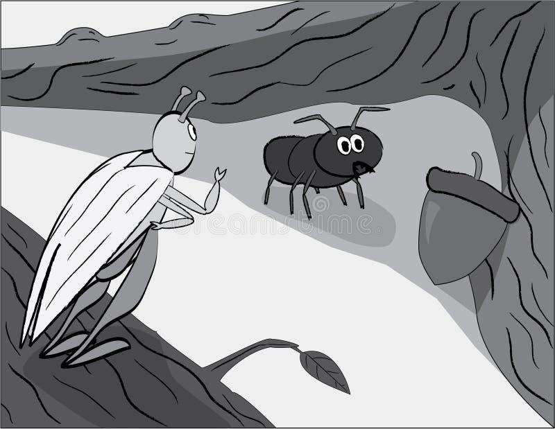 кузнечик муравея иллюстрация вектора