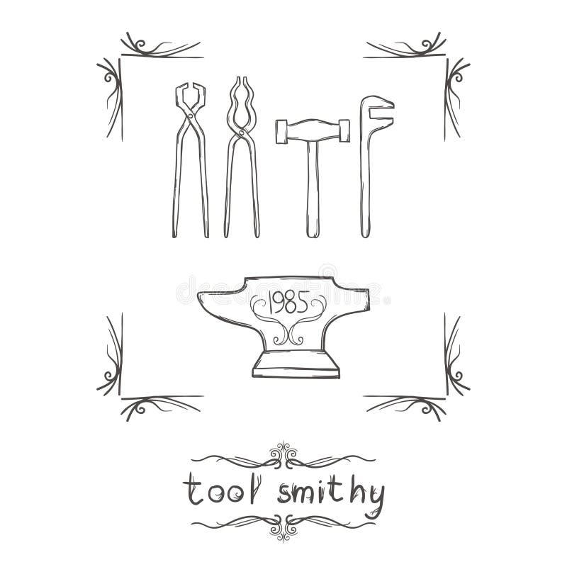 Кузница одно инструмента иллюстрация вектора