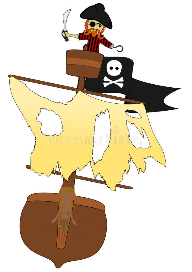кукарекает его гнездй над белизной вектора пирата иллюстрация вектора