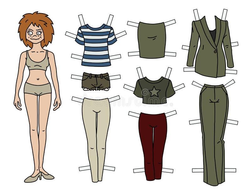 Кукла бумаги redhead бесплатная иллюстрация