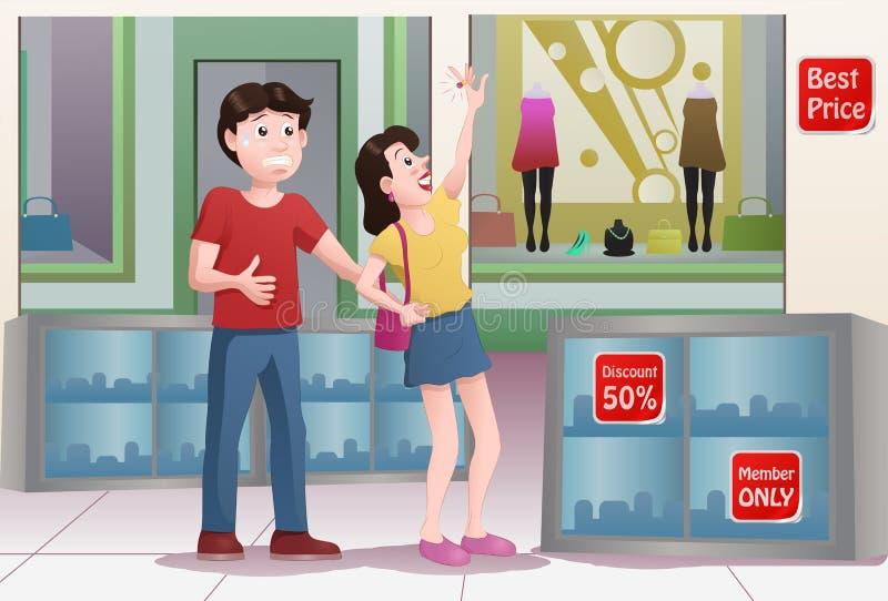 кукла гиганта покупки мальчика покупок иллюстрация вектора