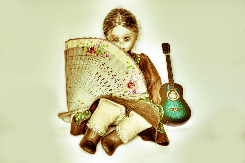 Кукла и фламенко иллюстрация вектора