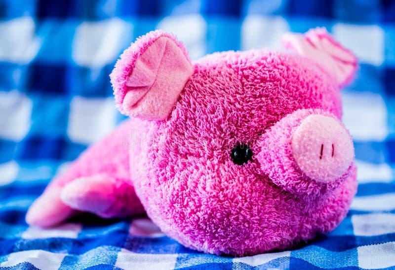 Кукла свиньи на ткани стоковая фотография rf