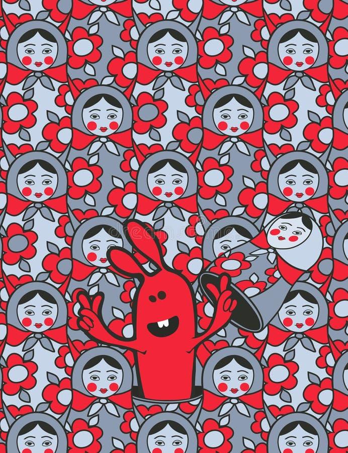 куклы шаржа вычисляют русского кролика иллюстрация штока