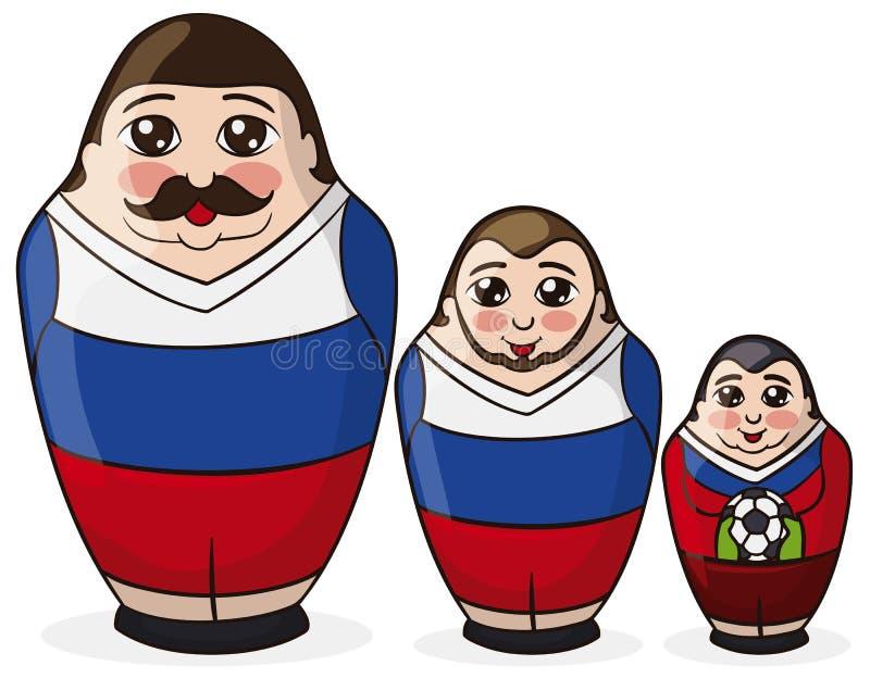 3 куклы Matryoshka покрашенной как футболисты с русскими цветами, иллюстрацией вектора иллюстрация штока
