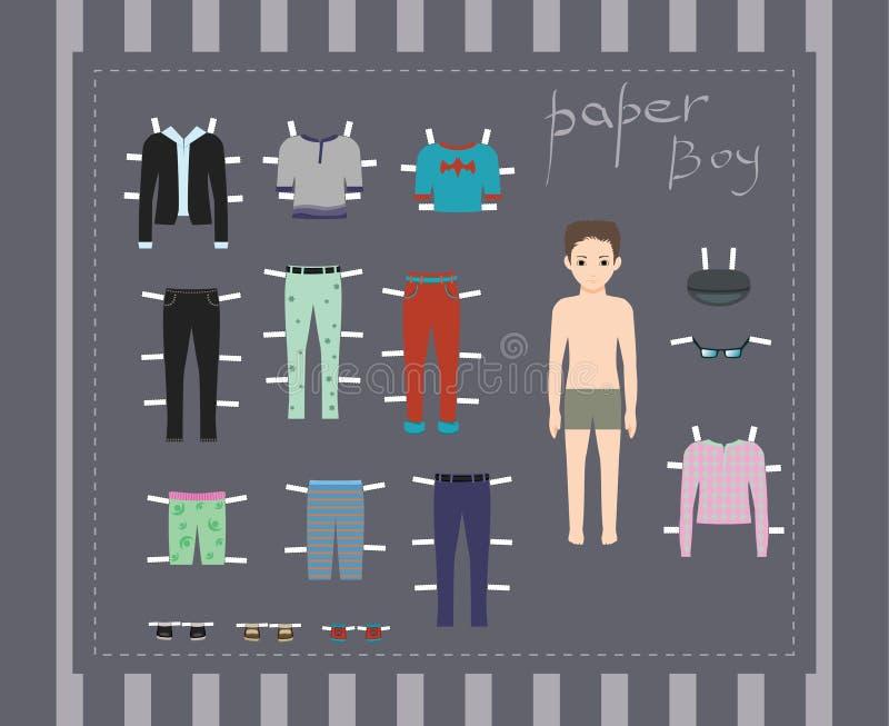 Кукла бумажного мальчика, установила одежды, шаблон тела иллюстрация вектора