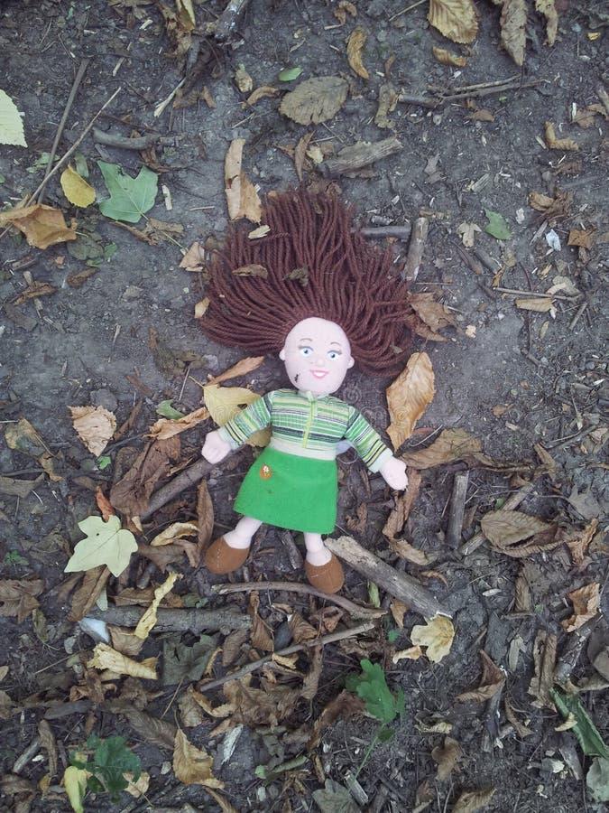 Кукла в лесе стоковые фотографии rf