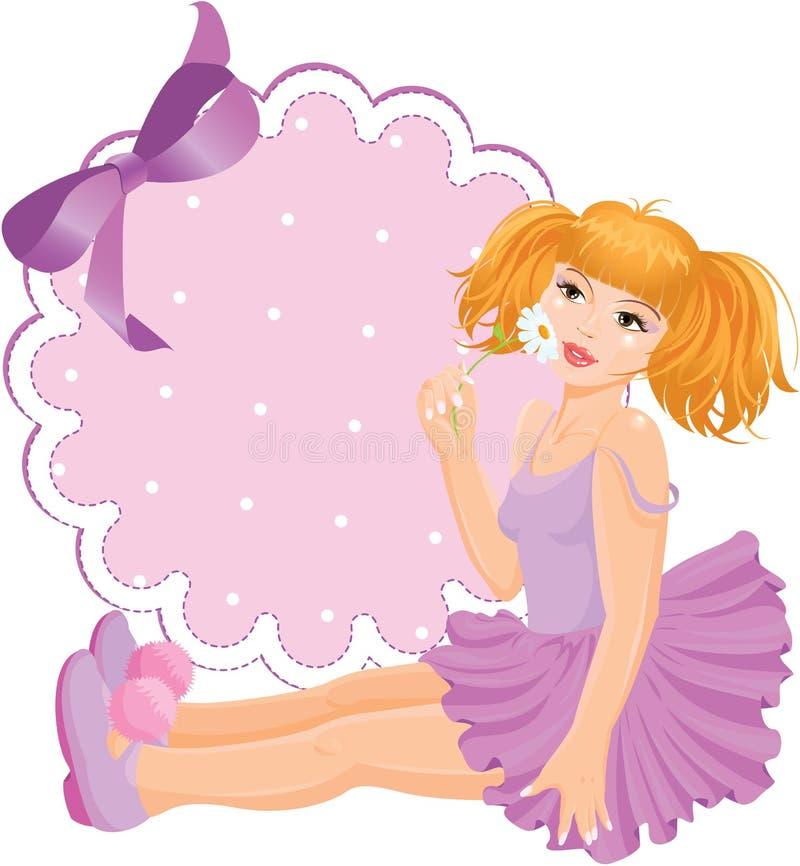 Кукла девушки против круглой рамки шнурка с смычком. иллюстрация штока
