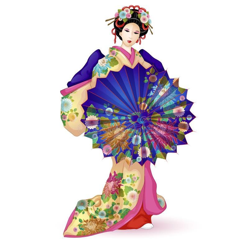 Кукла Hina Ningyo Японии национальная в голубом кимоно с зонтиком Зонтик и кимоно украшенные с картиной с хризантемой иллюстрация вектора