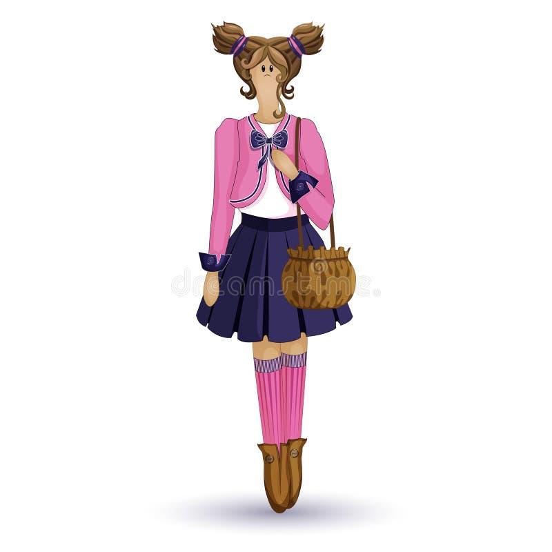Кукла Tilda Девушка в розовой куртке и голубой юбке с сумкой в его руках Персонаж из мультфильма вектора на белой предпосылке иллюстрация вектора
