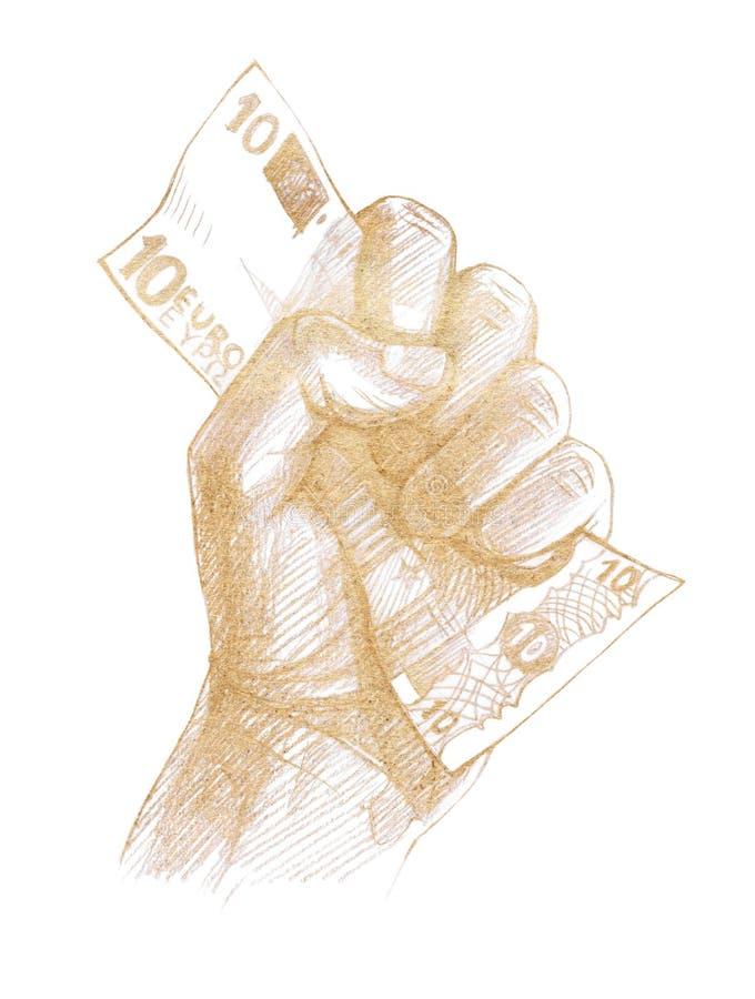 Кулак человека с примечанием в нем 10 евро бесплатная иллюстрация