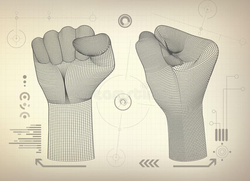 Кулак Wireframe иллюстрация вектора