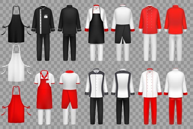 Кулинарная одежда Форма шеф-повара, набор одежд ткани кухни изолированный вектором бесплатная иллюстрация
