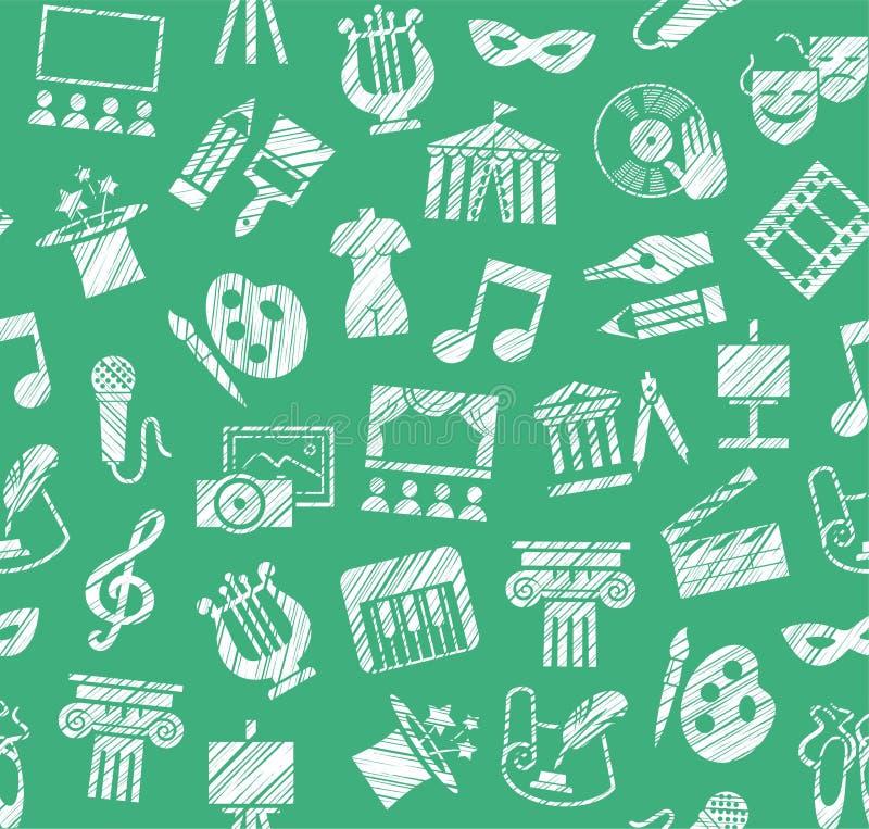 Культура и искусство, безшовная картина, затеняя карандаш, зеленый цвет, вектор бесплатная иллюстрация