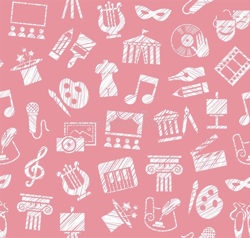 Культура и искусство, безшовная картина, затеняя карандаш, пинк, вектор иллюстрация штока