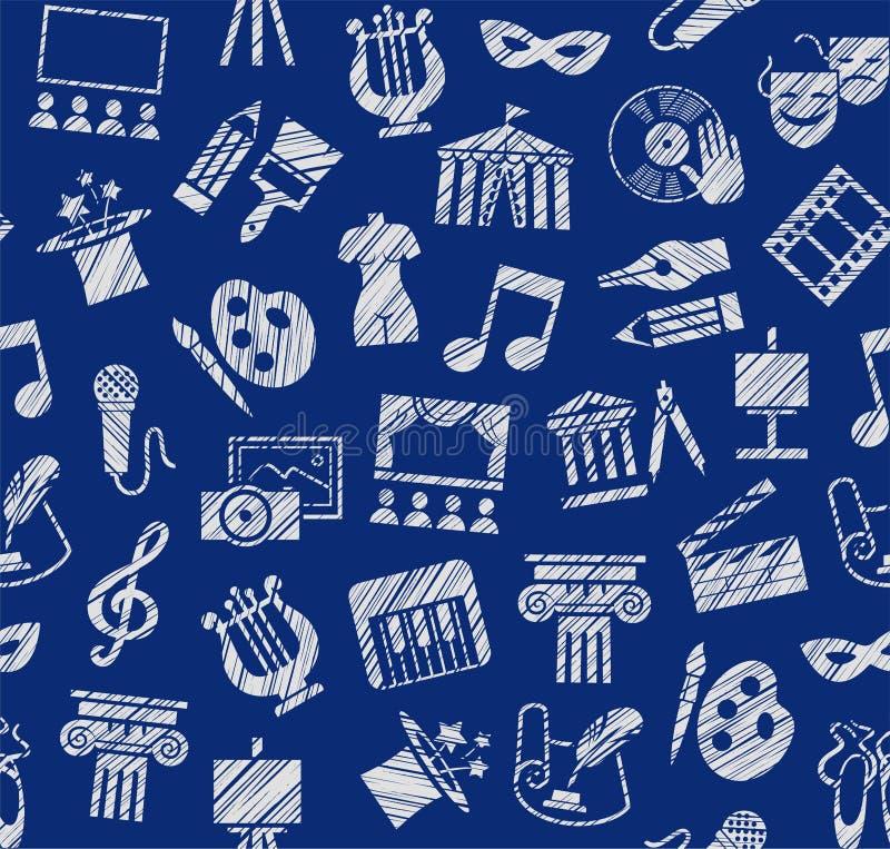Культура и искусство, безшовная картина, затеняя карандаш, синий, вектор бесплатная иллюстрация