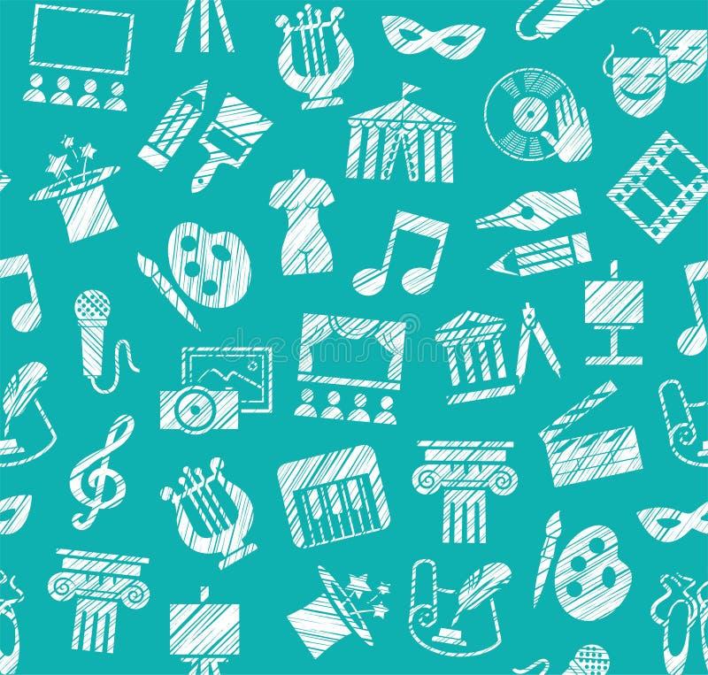 Культура и искусство, безшовная картина, затеняя карандаш, синь, вектор иллюстрация штока