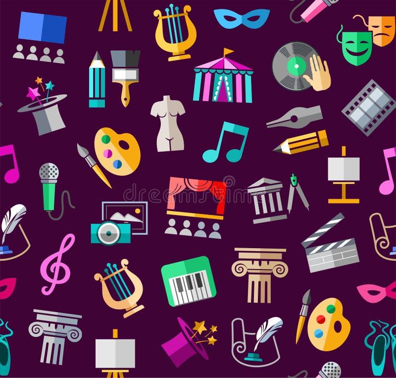 Культура и искусство, безшовная картина, цвет, пурпур, вектор иллюстрация штока