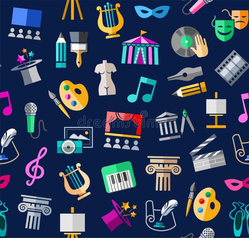 Культура и искусство, безшовная предпосылка, цвет, синь, вектор иллюстрация штока