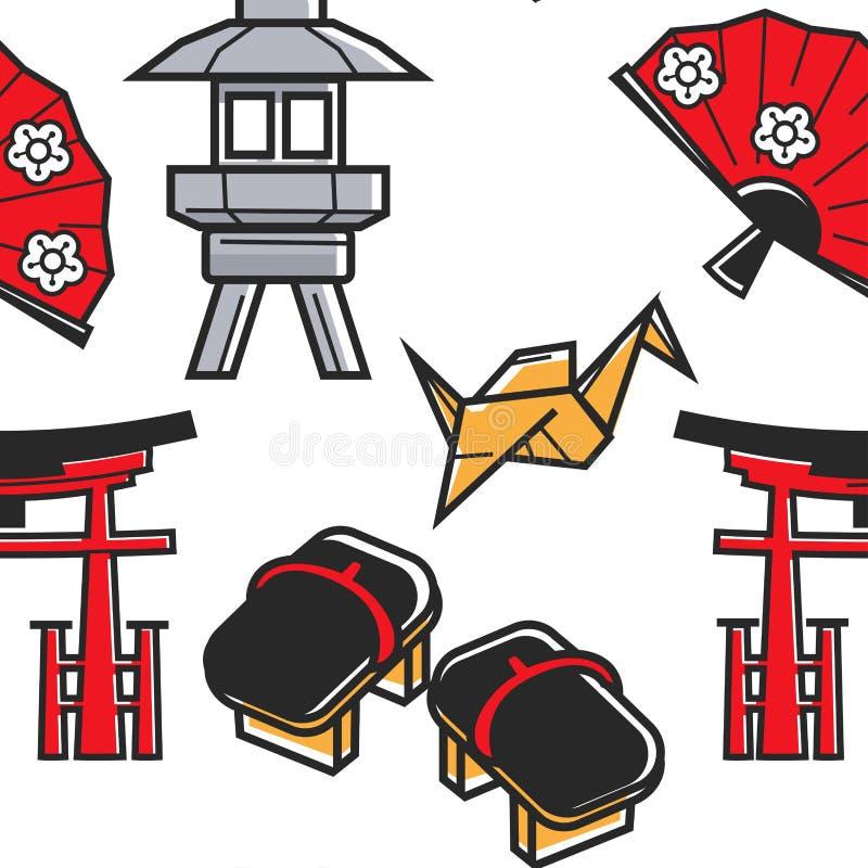 Культура и путешествовать Японии картины японских символов безшовные иллюстрация вектора