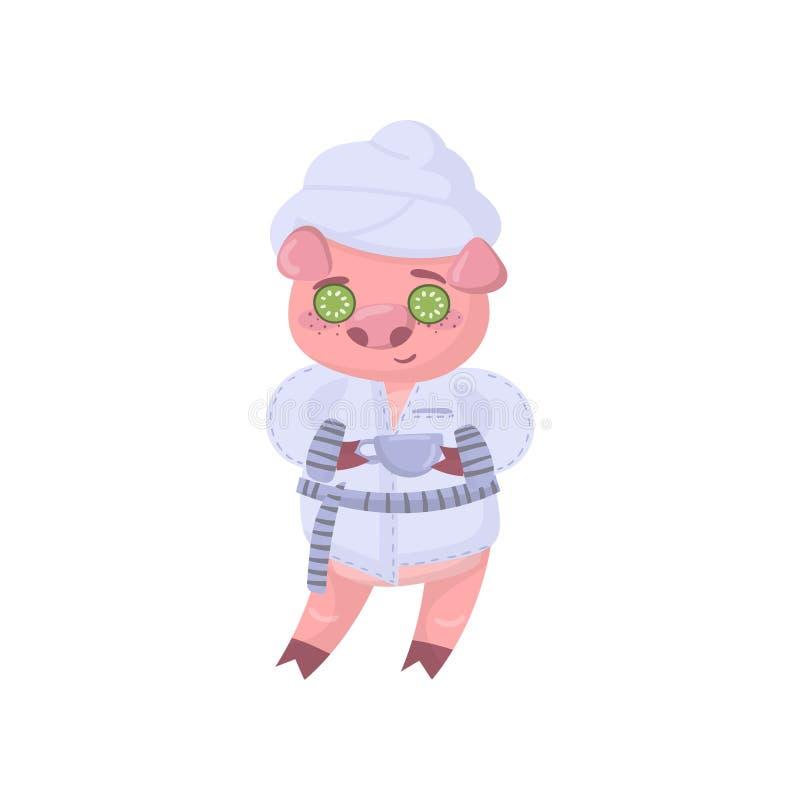 Купальный халат милого характера свиньи нося наслаждаясь обработкой стороны с маской огурца, вектором смешного шаржа piggy животн иллюстрация вектора
