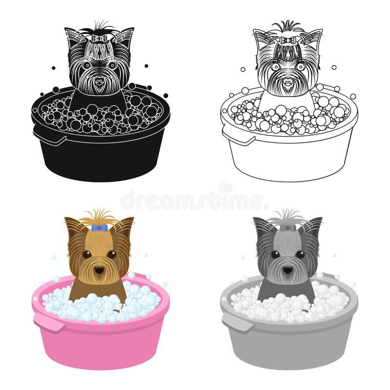 Купать щенка любимчика в шаре собака, любимчик, значок заботы собаки одиночный в сети иллюстрации запаса символа вектора стиля ша иллюстрация вектора