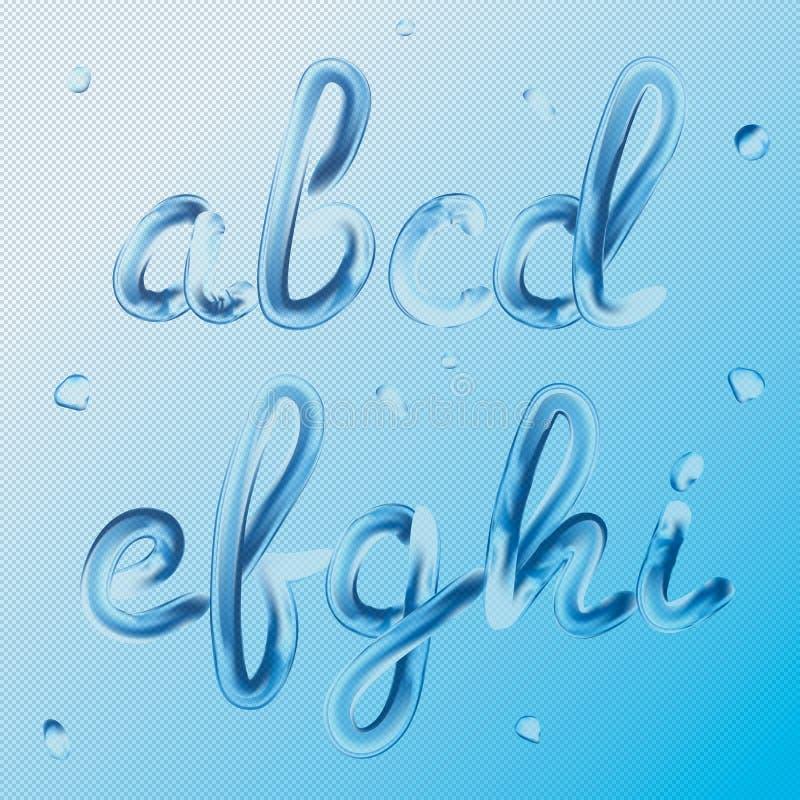 купель 3d Письма a, b, c, d, e, f, g, h, I Реалистическая краска воды представляет иллюстрацию вектора оформления прозрачно иллюстрация вектора