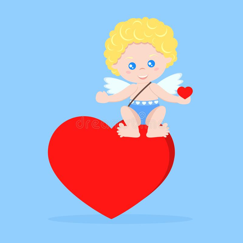 Купидон в сидя представлении на сердце с сердцем в наличии иллюстрация вектора