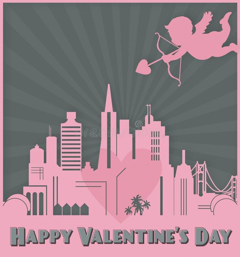 Купидон горизонта Сан-Франциско искусства карты дня Святого Валентина иллюстрация штока