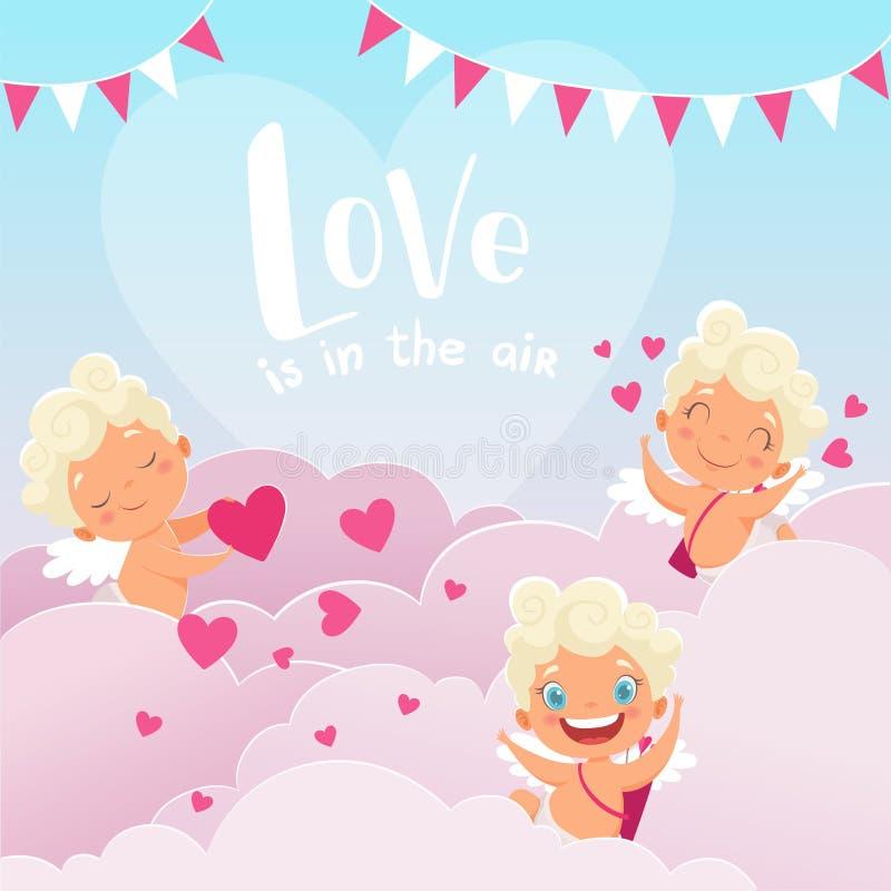Купидон заволакивает предпосылка Бог Амура романтичный Греции младенца дня валентинки с летанием смычка заволакивает пары любовни бесплатная иллюстрация