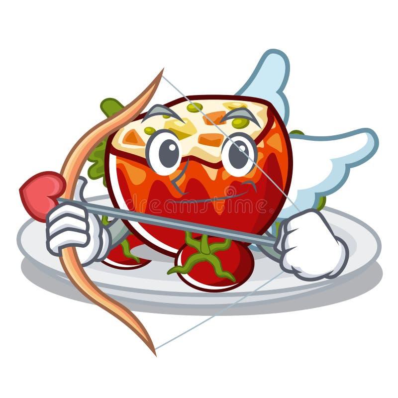 Купидон заполнил томаты положенные на плиты характера бесплатная иллюстрация