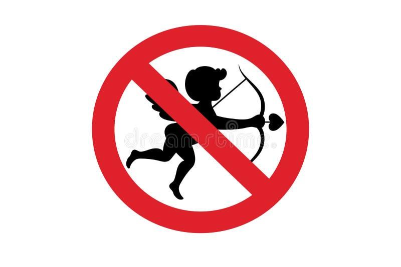 Купидон не позволил запрету красному символу знака стоковые фото