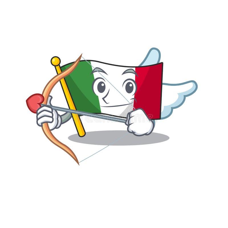 Купидон флаг италия с фигурой персонажа иллюстрация вектора