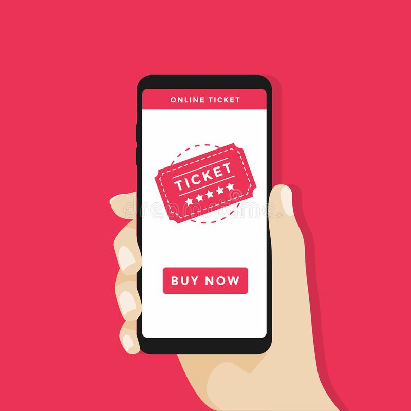 Купите билеты онлайн с smartphone Ходя по магазинам онлайн дело, покупает онлайн концепцию иллюстрация вектора