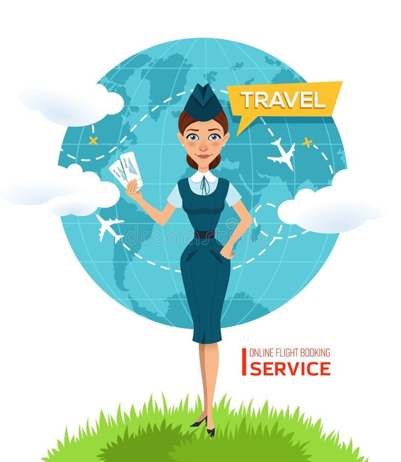 Купите билеты онлайн Плакат рекламы, знамя Stewardess держит авиабилеты и предложения для того чтобы пойти на отключение вокруг м бесплатная иллюстрация