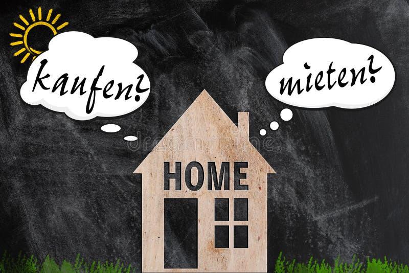 Купите или арендуйте домашнюю концепцию процесса принятия решений немецкую стоковые изображения