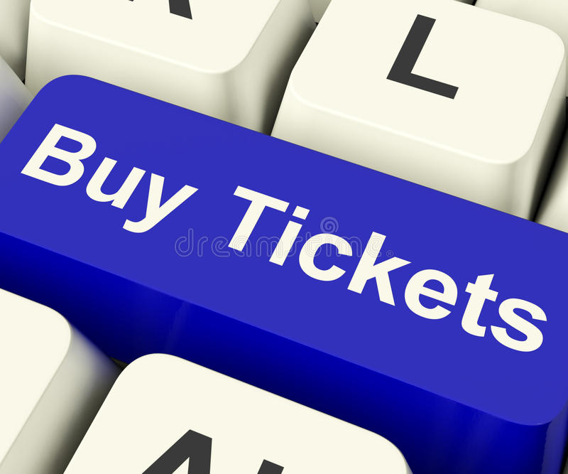 Купите ключ компьютера билетов показывая допущение p концерта или фестиваля стоковые изображения