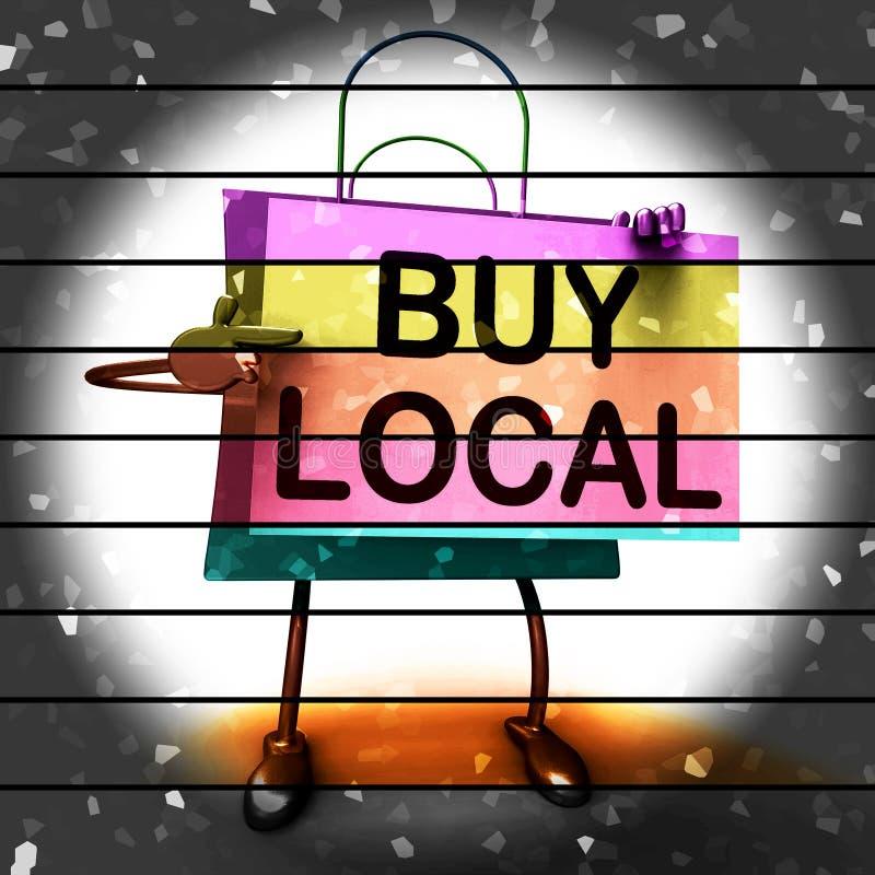Купите местные выставки хозяйственной сумки покупая продукты по месту бесплатная иллюстрация