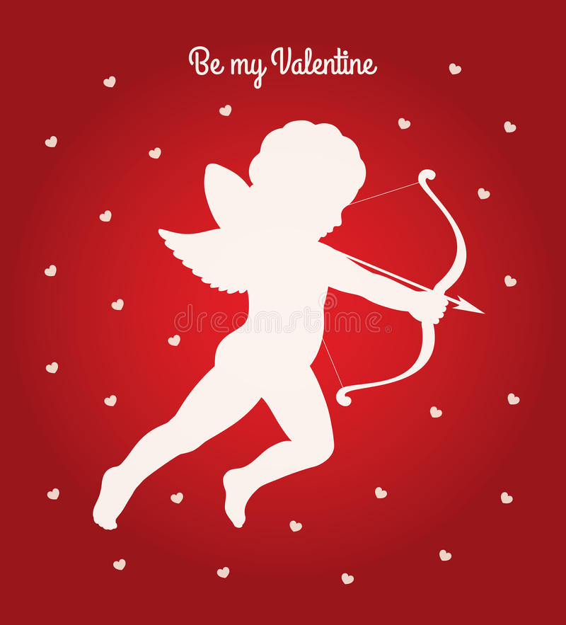 Купидон моя карточка валентинки иллюстрация вектора