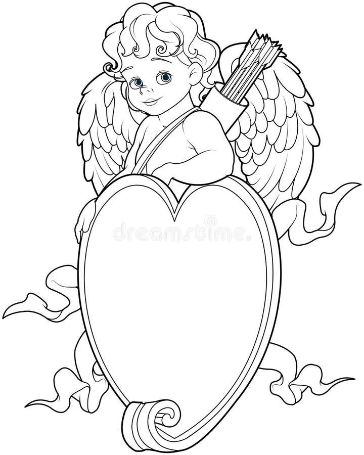 Купидон над знаком формы сердца Страница расцветки бесплатная иллюстрация